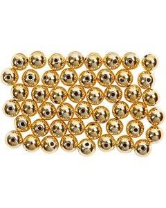 Wachsperlen, D: 5 mm, Lochgröße 0,7 mm, Gold, 100 Stck./ 1 Pck.