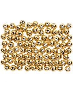 Wachsperlen, D: 4 mm, Lochgröße 0,7 mm, Gold, 150 Stck./ 1 Pck.