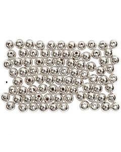 Wachsperlen, D: 4 mm, Lochgröße 0,7 mm, Silber, 150 Stck./ 1 Pck.
