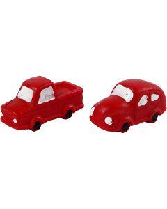Miniatur-Figuren, H: 20 mm, L: 40 mm, Rot, 2 Stck./ 1 Pck.