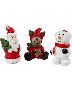 Miniatur-Figuren, Nikolaus, Rentier, Schneemann, H: 35 mm, L: 10 mm, 3 Stck./ 1 Pck.