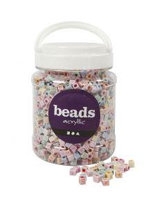 Perlen mit Buchstaben, Größe 6x6 mm, Lochgröße 3 mm, 700 ml/ 1 Dose