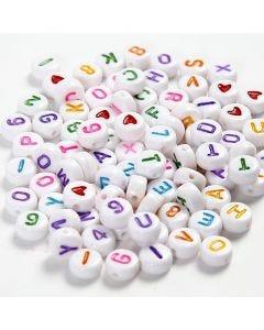 Buchstaben-Perlen, Größe 7 mm, Lochgröße 1,2 mm, Weiß, 25 g/ 1 Pck.