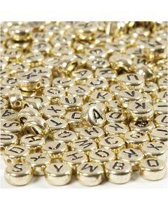 Buchstaben-Perlen, D: 7 mm, Lochgröße 1,2 mm, Gold, 21 g/ 1 Pck.