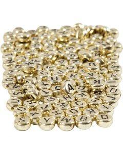 Buchstaben-Perlen, D: 7 mm, Lochgröße 1,2 mm, Gold, 165 g/ 1 Pck.