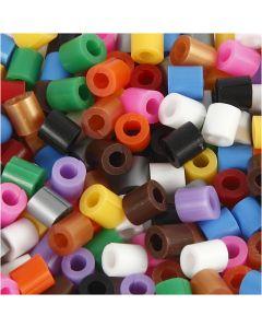 Nabbi Fuse Beads mit Schlitz, Größe 5x5 mm, Lochgröße 2,5 mm, medium, Standard-Farben, 1100 sort./ 1 Pck.