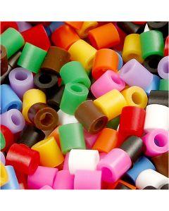 Bügelperlen, Größe 5x5 mm, Lochgröße 2,5 mm, medium, Standard-Farben, 6000 sort./ 1 Pck.