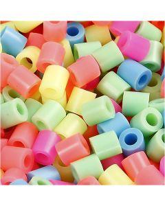Bügelperlen, Größe 5x5 mm, Lochgröße 2,5 mm, medium, Pastellfarben, 6000 sort./ 1 Pck.