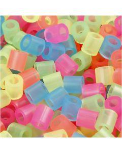 Bügelperlen, Größe 5x5 mm, Lochgröße 2,5 mm, medium, Neonfarben, 6000 sort./ 1 Pck.