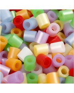 Bügelperlen, Größe 5x5 mm, Lochgröße 2,5 mm, medium, Perlmuttfarben, 30000 sort./ 1 Pck.