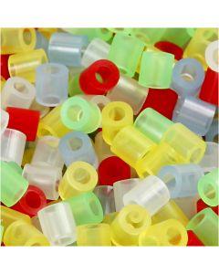 Bügelperlen, Größe 5x5 mm, Lochgröße 2,5 mm, medium, Transparente Farben, 30000 sort./ 1 Pck.