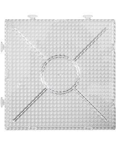Steckplatte, Großes Quadrat, Größe 15x15 cm, Transparent, 2 Stck./ 1 Pck.