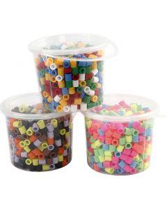 Bügelperlen, Größe 10x10 mm, Lochgröße 5,5 mm, JUMBO, Sortierte Farben, 3x550 sort./ 1 Pck.
