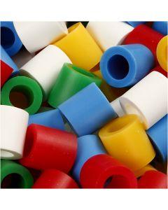 Bügelperlen, Größe 10x10 mm, Lochgröße 5,5 mm, JUMBO, Standard-Farben, 1000 sort./ 1 Pck.