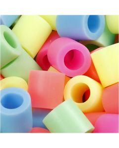 Bügelperlen, Größe 10x10 mm, Lochgröße 5,5 mm, JUMBO, Pastellfarben, 1000 sort./ 1 Pck.