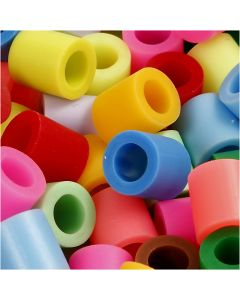 Bügelperlen, Größe 10x10 mm, Lochgröße 5,5 mm, JUMBO, Sortierte Farben, 2450 sort./ 1 Eimer