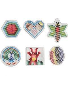 Steckbrett, Geometrische Figuren, Größe 7x7,5-10,5x9,5 cm, 6 Stck./ 1 Pck.