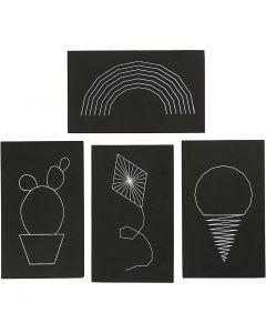 Platten für Fadenkunst, Größe 20x12 cm, Stärke: 10 mm, Schwarz, 16 Stck./ 1 Pck.