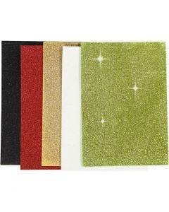 Moosgummi-Blätter, A5, 148x210 mm, Stärke: 2 mm, Sortierte Farben, 5 Bl./ 1 Pck.