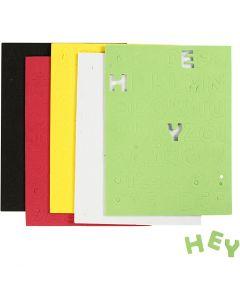 Moosgummi-Buchstaben & Zahlen, Größe 2-2,3 cm, Sortierte Farben, 5 Bl./ 1 Pck.