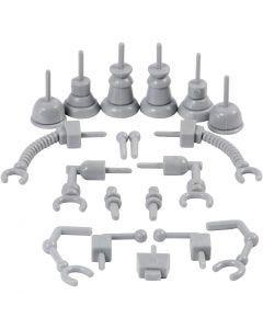 Roboterteile, Größe 0,5-6 cm, Grau, 19 Stck./ 1 Pck.
