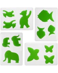 Dekorative Formen, Tiere, H: 6+8+10 cm, Größe 14,9x22 cm, 4 Stck./ 1 Pck.