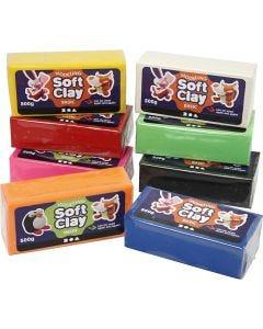Soft Clay Knetmasse, Größe 13x6x4 cm, Sortierte Farben, 8x500 g/ 1 Pck.