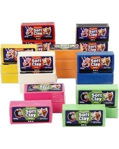 Soft Clay Knetmasse, Größe 13x6x4 cm, Sortierte Farben, 24x500 g/ 1 Pck.