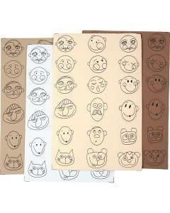 Gesichter aus Moosgummi, D: 30-40 mm, 72 sort./ 1 Pck.