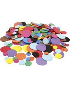 Moosgummikreise, D: 12+20+32 mm, Sortierte Farben, 300 sort./ 1 Pck.