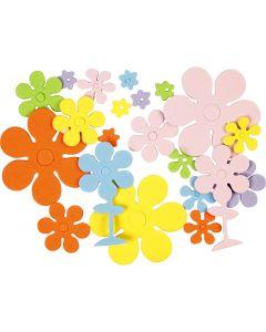 Moosgummi-Blumen, Größe 10-60 mm, Sortierte Farben, 100 sort./ 1 Pck.