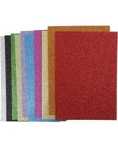 Moosgummi, A4, 210x297 mm, Stärke: 2 mm, Glitter, Sortierte Farben, 10 Bl. sort./ 1 Pck.