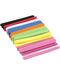 Moosgummi-Eisstiele, L: 11,5 cm, B: 1 cm, Stärke: 2 mm, Sortierte Farben, 120 Stck./ 1 Pck.