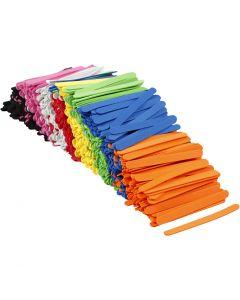 Moosgummi-Eisstiele, L: 11,5 cm, B: 1 cm, Stärke: 2 mm, Sortierte Farben, 1000 Stck./ 1 Pck.