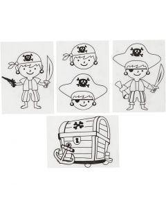 Plastik-Schrumpffolien mit Motiv, Piraten, 10,5x14,5 cm, Matt transparent, 4 Bl./ 1 Pck.