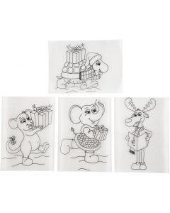Plastik-Schrumpffolien mit Motiv, 10,5x14,5 cm, Matt transparent, 4 Bl./ 1 Pck.