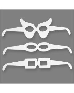Brillen, H: 4,5-10 cm, L: 32 cm, 230 g, Weiß, 16 Stck./ 1 Pck.