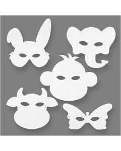 Tier-Masken, H: 13-24 cm, B: 20-28 cm, 230 g, Weiß, 16 Stck./ 1 Pck.
