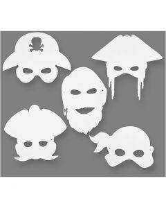 Piraten-Masken, H: 16-26 cm, B: 17,5-26,5 cm, 230 g, Weiß, 16 Stck./ 1 Pck.