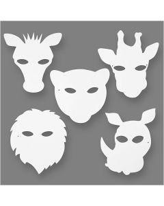 Dschungeltier-Masken, H: 22,5-25 cm, B: 20,5-22,5 cm, 230 g, Weiß, 16 Stck./ 1 Pck.