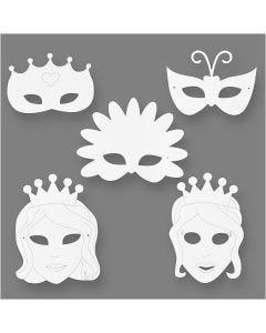 Märchen-Masken, H: 13,5-25 cm, B: 17-25 cm, 230 g, Weiß, 16 Stck./ 1 Pck.