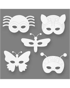 Insekten-Masken, H: 14-17 cm, B: 19,5-23 cm, 230 g, Weiß, 16 Stck./ 1 Pck.