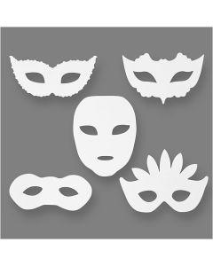 Karnevals-Masken, H: 8,5-19 cm, B: 15-20,5 cm, 230 g, Weiß, 16 Stck./ 1 Pck.