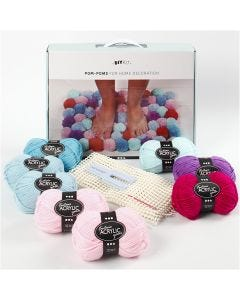 DIY-Set Pompons, Moosgrün, 1 Set/ 1 Schachtel