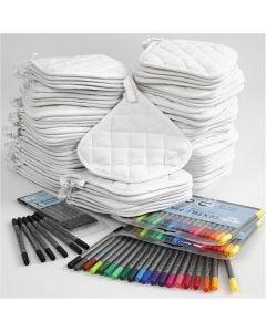 Topflappen & Textilmalstifte, Schwarz, Weiß, 1 Set