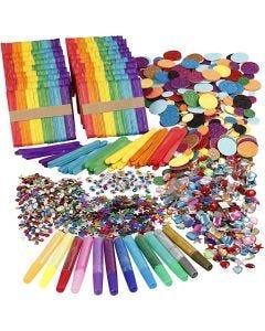 Glitzer und Holzstäbchen, Sortierte Farben, 1 Set