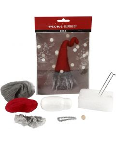 Mini-Kreativset, Weihnachtswichtel grauer Bart, H: 13 cm, 1 Stck./ 1 Set