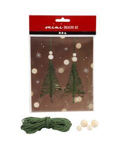 Mini-Kreativset, Weihnachtsbaum aus Macramé, H: 11 cm, 2 Stck./ 1 Set