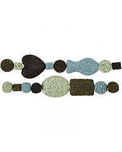 Perlen-Sortiment in Luxus-Ausführung, D: 6-37 mm, Lochgröße 2 mm, Harmonie in Blau-Grün, 1 Set