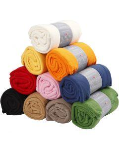 Fleece, L: 125 cm, B: 150 cm, Sortierte Farben, 10 Stck./ 1 Pck.